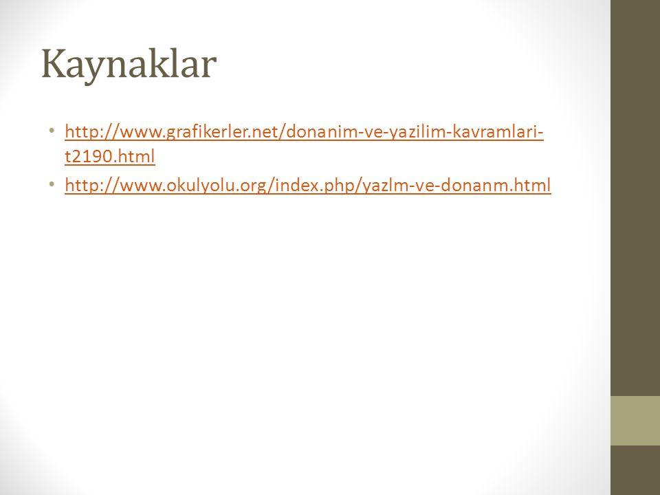 Kaynaklar http://www.grafikerler.net/donanim-ve-yazilim-kavramlari- t2190.html http://www.grafikerler.net/donanim-ve-yazilim-kavramlari- t2190.html http://www.okulyolu.org/index.php/yazlm-ve-donanm.html