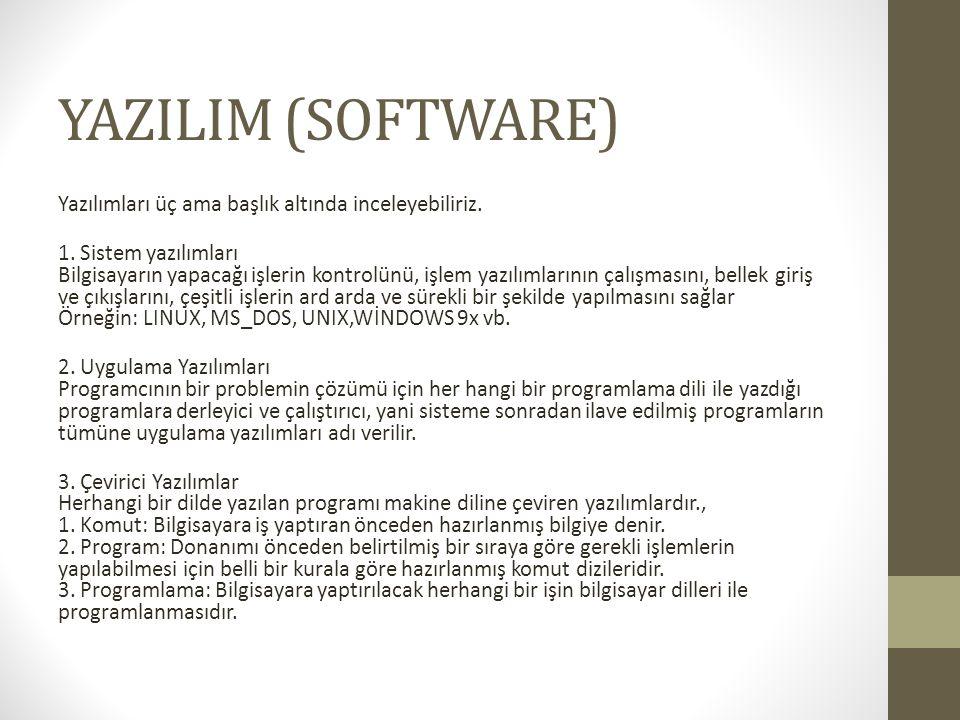 YAZILIM (SOFTWARE) Yazılımları üç ama başlık altında inceleyebiliriz.