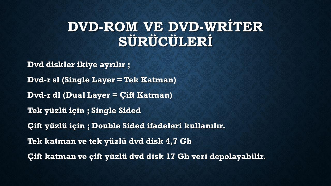 DVD-ROM VE DVD-WRİTER SÜRÜCÜLERİ Dvd diskler ikiye ayrılır ; Dvd-r sl (Single Layer = Tek Katman) Dvd-r dl (Dual Layer = Çift Katman) Tek yüzlü için ; Single Sided Çift yüzlü için ; Double Sided ifadeleri kullanılır.
