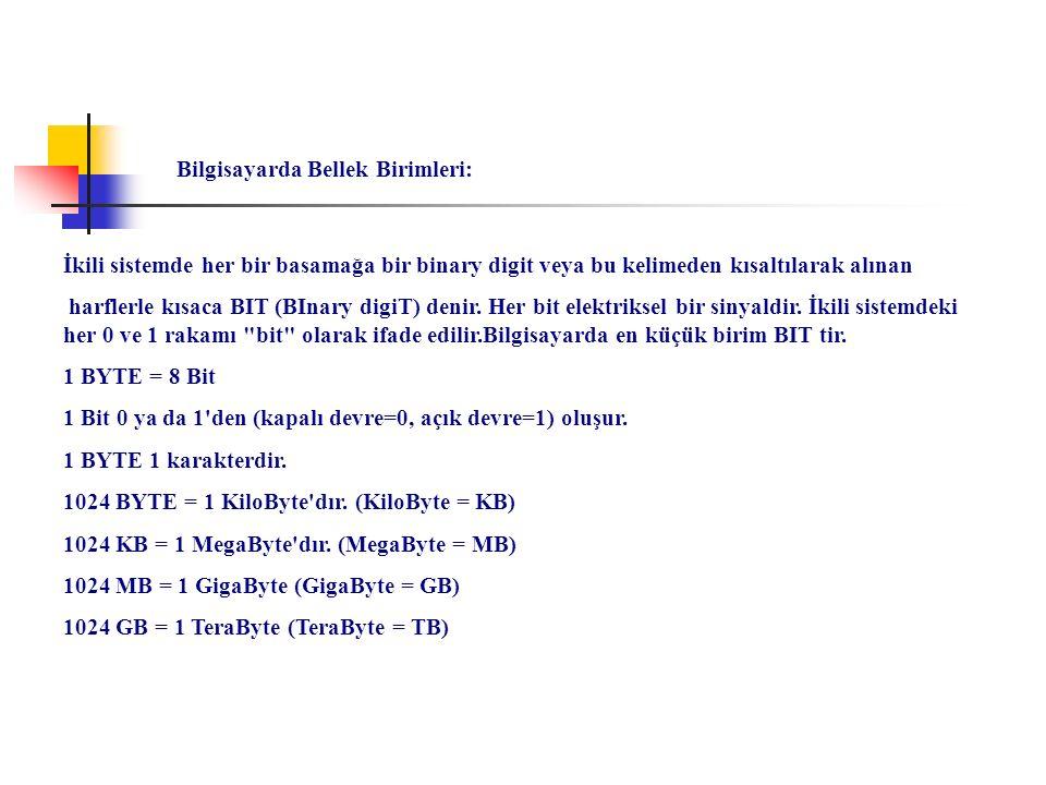 İkili sistemde her bir basamağa bir binary digit veya bu kelimeden kısaltılarak alınan harflerle kısaca BIT (BInary digiT) denir. Her bit elektriksel