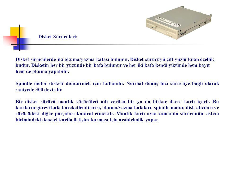 Disket sürücülerde iki okuma/yazma kafası bulunur. Disket sürücüyü çift yüzlü kılan özellik budur. Disketin her bir yüzünde bir kafa bulunur ve her ik