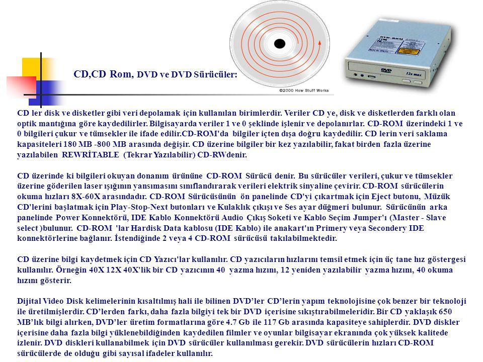 CD,CD Rom, DVD ve DVD Sürücüler: CD ler disk ve disketler gibi veri depolamak için kullanılan birimlerdir. Veriler CD ye, disk ve disketlerden farklı
