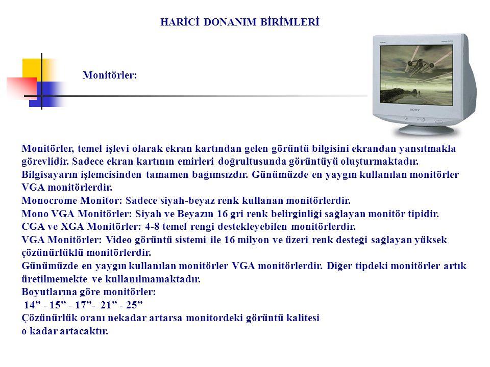 HARİCİ DONANIM BİRİMLERİ Monitörler, temel işlevi olarak ekran kartından gelen görüntü bilgisini ekrandan yansıtmakla görevlidir. Sadece ekran kartını