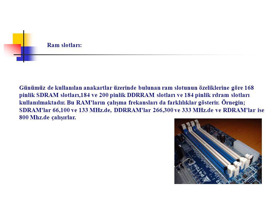 Günümüz de kullanılan anakartlar üzerinde bulunan ram slotunun özeliklerine göre 168 pinlik SDRAM slotları,184 ve 200 pinlik DDRRAM slotları ve 184 pi
