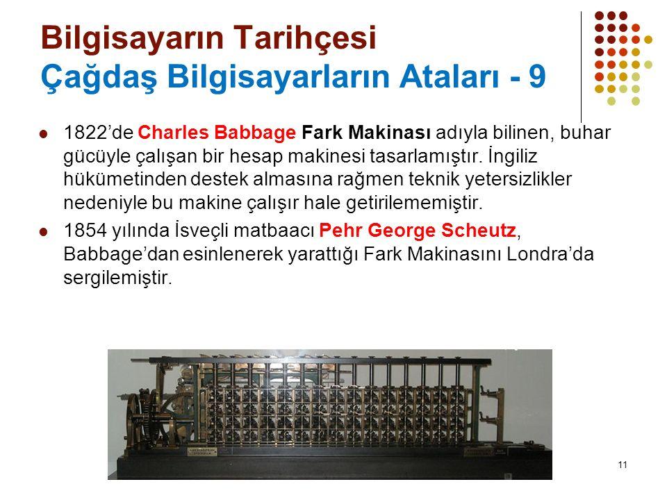 11 Bilgisayarın Tarihçesi Çağdaş Bilgisayarların Ataları - 9 1822'de Charles Babbage Fark Makinası adıyla bilinen, buhar gücüyle çalışan bir hesap makinesi tasarlamıştır.