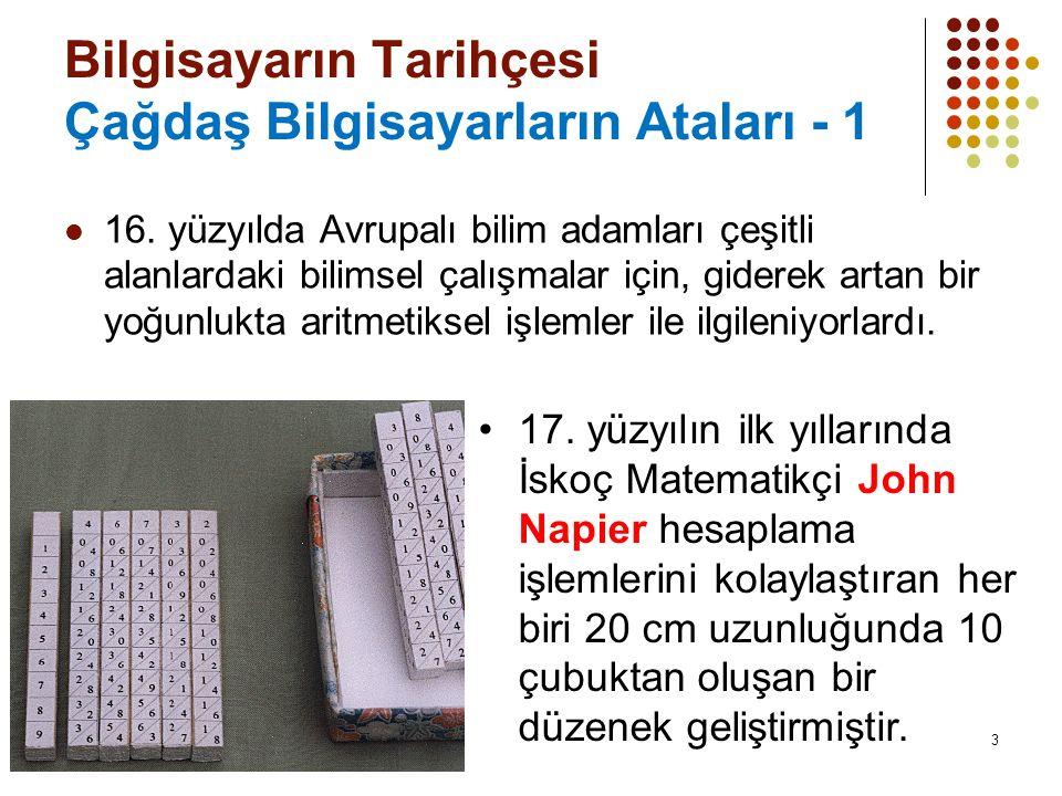 14 Bilgisayarın Tarihçesi Çağdaş Bilgisayarların Ataları - 12 1855'te George Scheutz ve Edvard Scheutz Babbage'ın çalışmalarını temel alarak ilk kez basit mekanik bilgisayarı tasarlamışlardır.