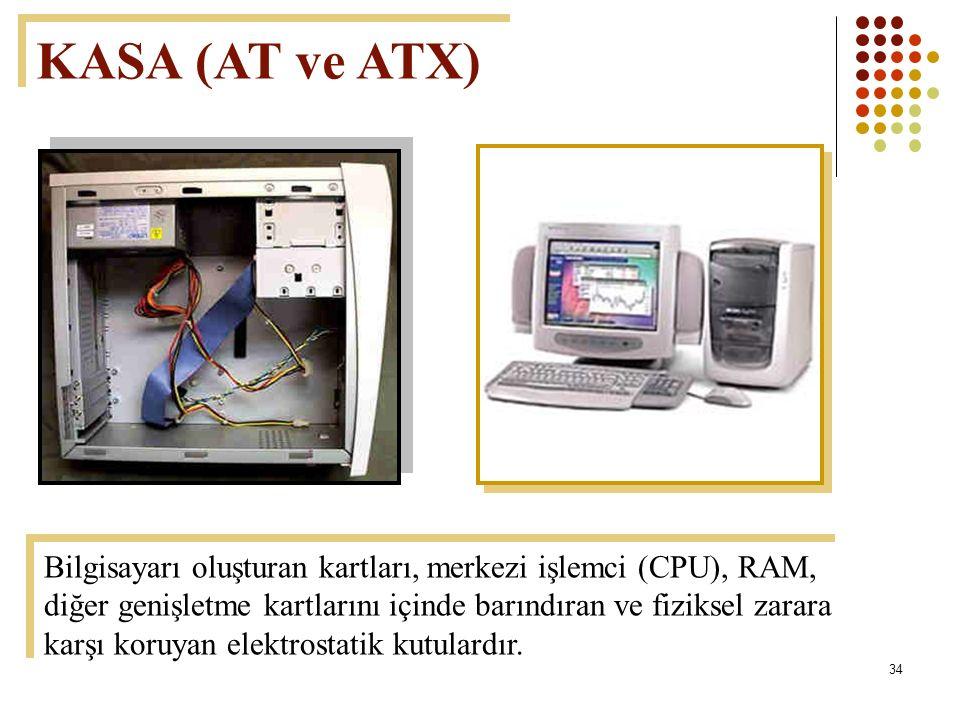 34 KASA (AT ve ATX) Bilgisayarı oluşturan kartları, merkezi işlemci (CPU), RAM, diğer genişletme kartlarını içinde barındıran ve fiziksel zarara karşı koruyan elektrostatik kutulardır.