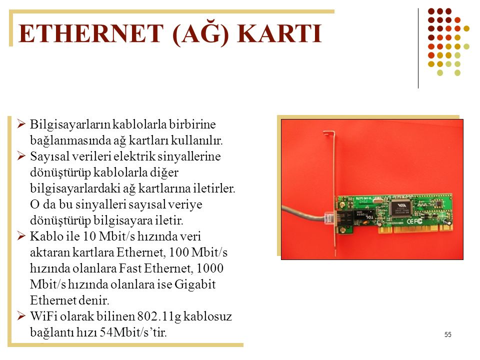 55  Bilgisayarların kablolarla birbirine bağlanmasında ağ kartları kullanılır.