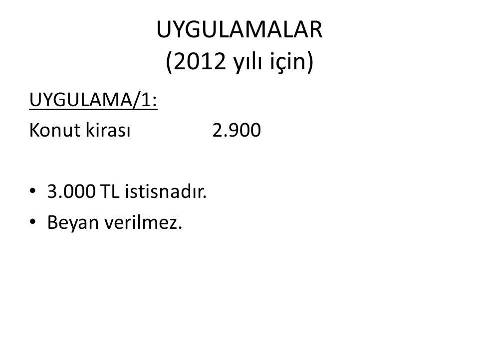 UYGULAMALAR (2012 yılı için) UYGULAMA/1: Konut kirası 2.900 3.000 TL istisnadır. Beyan verilmez.