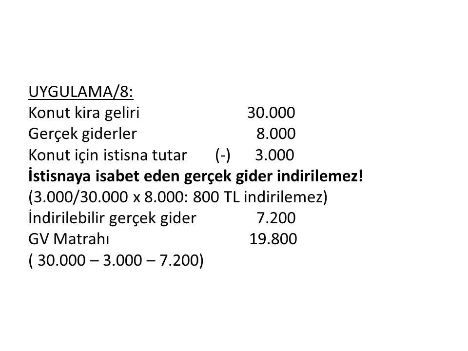 UYGULAMA/8: Konut kira geliri 30.000 Gerçek giderler 8.000 Konut için istisna tutar (-) 3.000 İstisnaya isabet eden gerçek gider indirilemez.