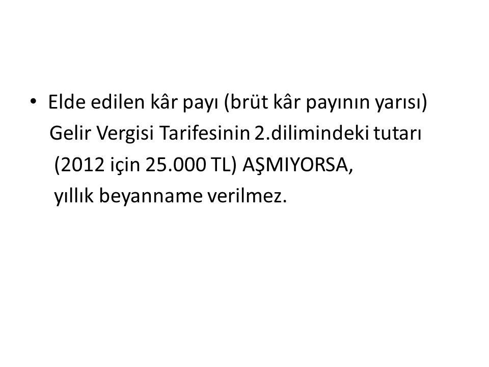 Elde edilen kâr payı (brüt kâr payının yarısı) Gelir Vergisi Tarifesinin 2.dilimindeki tutarı (2012 için 25.000 TL) AŞMIYORSA, yıllık beyanname verilmez.