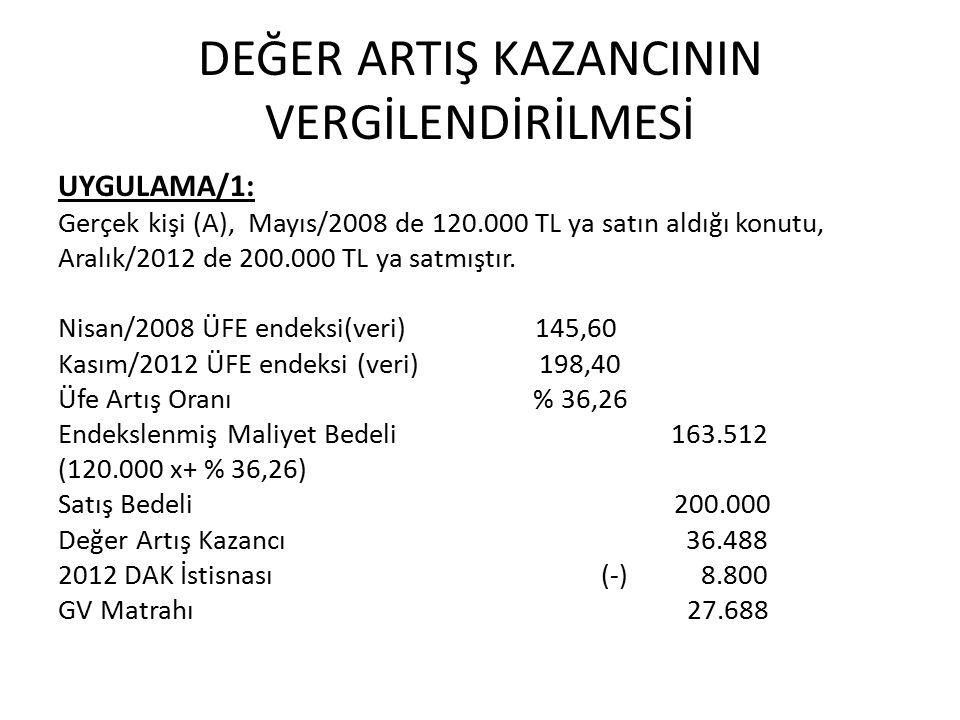 DEĞER ARTIŞ KAZANCININ VERGİLENDİRİLMESİ UYGULAMA/1: Gerçek kişi (A), Mayıs/2008 de 120.000 TL ya satın aldığı konutu, Aralık/2012 de 200.000 TL ya satmıştır.