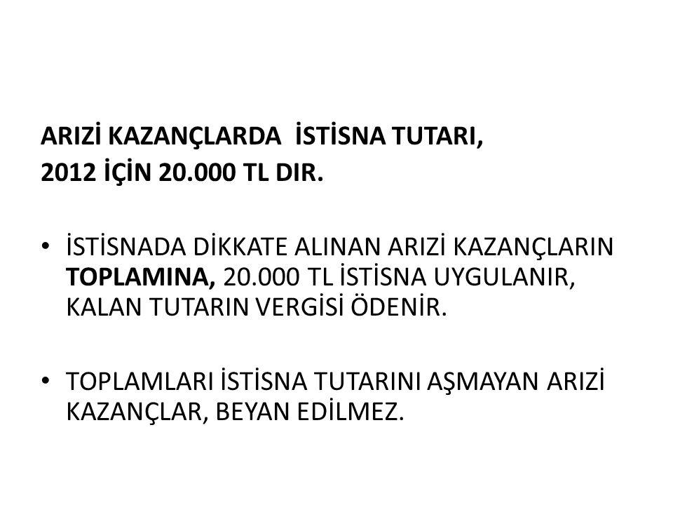 ARIZİ KAZANÇLARDA İSTİSNA TUTARI, 2012 İÇİN 20.000 TL DIR.