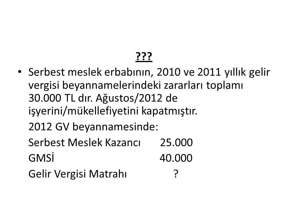 ??? Serbest meslek erbabının, 2010 ve 2011 yıllık gelir vergisi beyannamelerindeki zararları toplamı 30.000 TL dır. Ağustos/2012 de işyerini/mükellefi