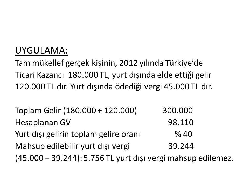 UYGULAMA: Tam mükellef gerçek kişinin, 2012 yılında Türkiye'de Ticari Kazancı 180.000 TL, yurt dışında elde ettiği gelir 120.000 TL dır.