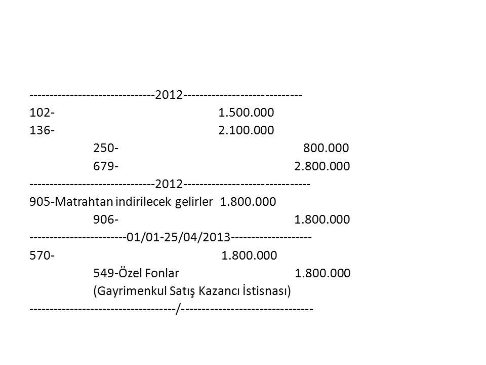 -------------------------------2012----------------------------- 102- 1.500.000 136- 2.100.000 250- 800.000 679- 2.800.000 -------------------------------2012------------------------------- 905-Matrahtan indirilecek gelirler 1.800.000 906- 1.800.000 ------------------------01/01-25/04/2013-------------------- 570- 1.800.000 549-Özel Fonlar 1.800.000 (Gayrimenkul Satış Kazancı İstisnası) ------------------------------------/--------------------------------