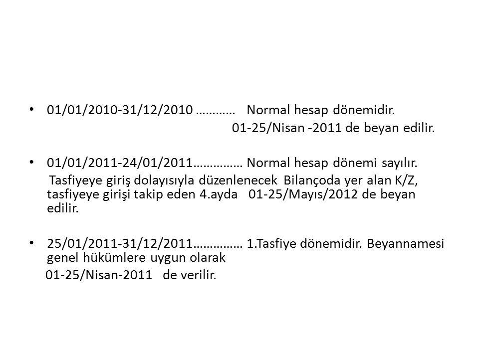 01/01/2010-31/12/2010 ………… Normal hesap dönemidir.