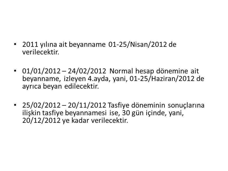 2011 yılına ait beyanname 01-25/Nisan/2012 de verilecektir.