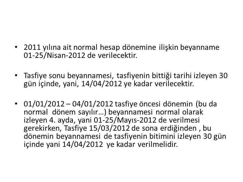 2011 yılına ait normal hesap dönemine ilişkin beyanname 01-25/Nisan-2012 de verilecektir.