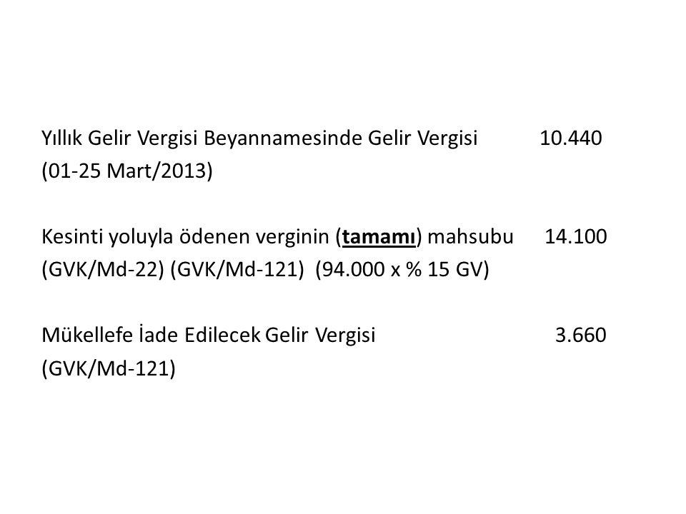 Yıllık Gelir Vergisi Beyannamesinde Gelir Vergisi 10.440 (01-25 Mart/2013) Kesinti yoluyla ödenen verginin (tamamı) mahsubu 14.100 (GVK/Md-22) (GVK/Md-121) (94.000 x % 15 GV) Mükellefe İade Edilecek Gelir Vergisi 3.660 (GVK/Md-121)