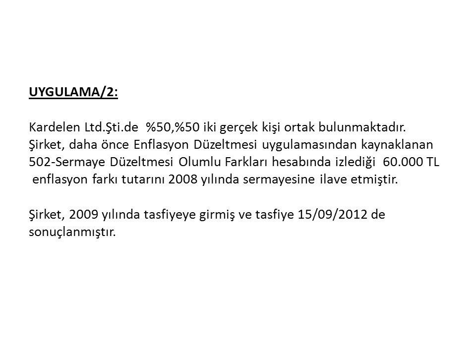 UYGULAMA/2: Kardelen Ltd.Şti.de %50,%50 iki gerçek kişi ortak bulunmaktadır.