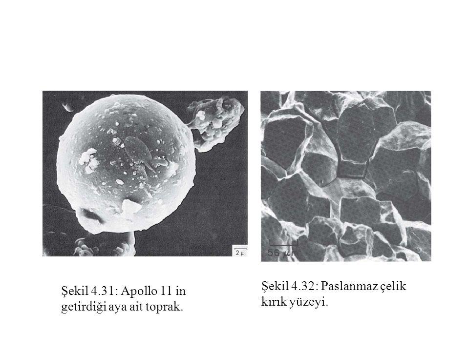Şekil 4.31: Apollo 11 in getirdiği aya ait toprak. Şekil 4.32: Paslanmaz çelik kırık yüzeyi.