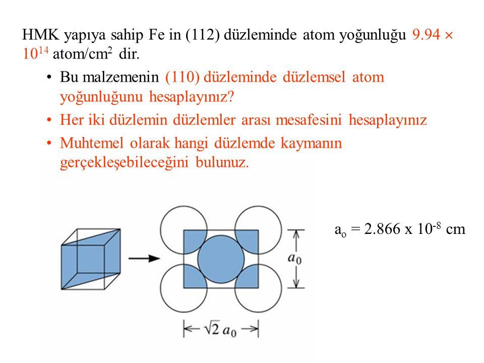 HMK yapıya sahip Fe in (112) düzleminde atom yoğunluğu 9.94  10 14 atom/cm 2 dir. Bu malzemenin (110) düzleminde düzlemsel atom yoğunluğunu hesaplayı
