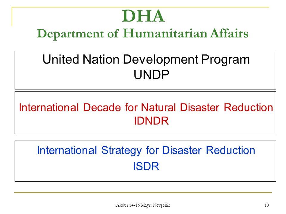 Akdur 14-16 Mayıs Nevşehir 10 DHA Department of Humanitarian Affairs United Nation Development Program UNDP International Decade for Natural Disaster