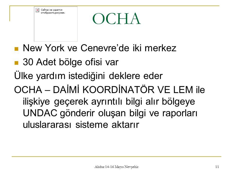 Akdur 14-16 Mayıs Nevşehir 11 OCHA New York ve Cenevre'de iki merkez 30 Adet bölge ofisi var Ülke yardım istediğini deklere eder OCHA – DAİMİ KOORDİNATÖR VE LEM ile ilişkiye geçerek ayrıntılı bilgi alır bölgeye UNDAC gönderir oluşan bilgi ve raporları uluslararası sisteme aktarır