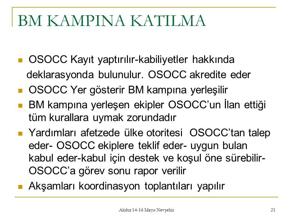 Akdur 14-16 Mayıs Nevşehir 21 BM KAMPINA KATILMA OSOCC Kayıt yaptırılır-kabiliyetler hakkında deklarasyonda bulunulur. OSOCC akredite eder OSOCC Yer g