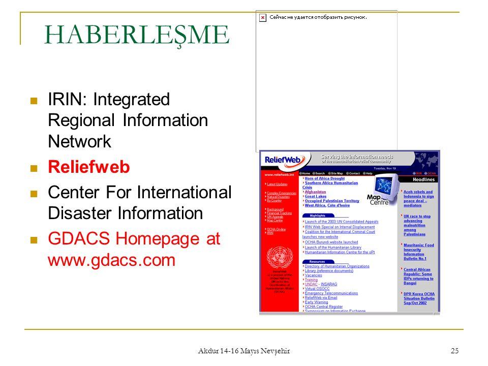 Akdur 14-16 Mayıs Nevşehir 25 HABERLEŞME IRIN: Integrated Regional Information Network Reliefweb Center For International Disaster Information GDACS H