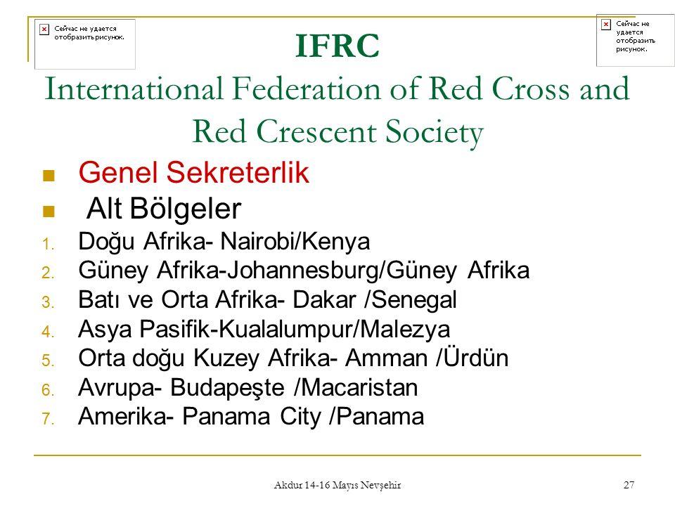 Akdur 14-16 Mayıs Nevşehir 27 IFRC International Federation of Red Cross and Red Crescent Society Genel Sekreterlik Alt Bölgeler 1. Doğu Afrika- Nairo