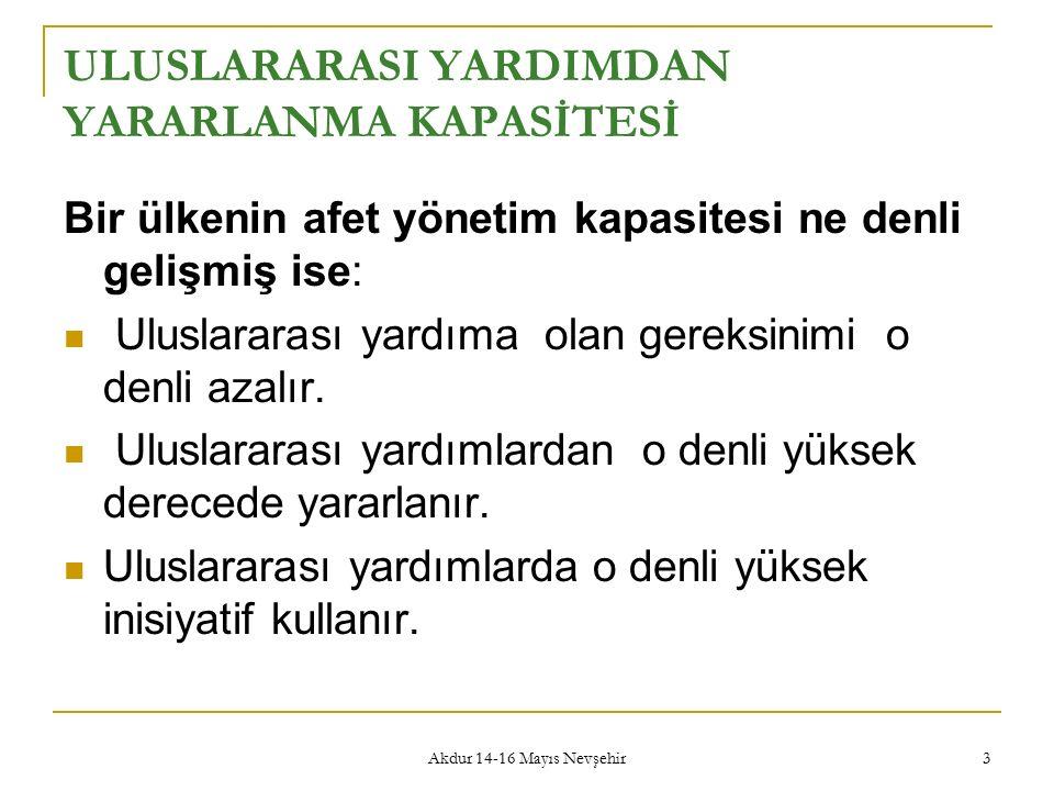 Akdur 14-16 Mayıs Nevşehir 3 ULUSLARARASI YARDIMDAN YARARLANMA KAPASİTESİ Bir ülkenin afet yönetim kapasitesi ne denli gelişmiş ise: Uluslararası yardıma olan gereksinimi o denli azalır.