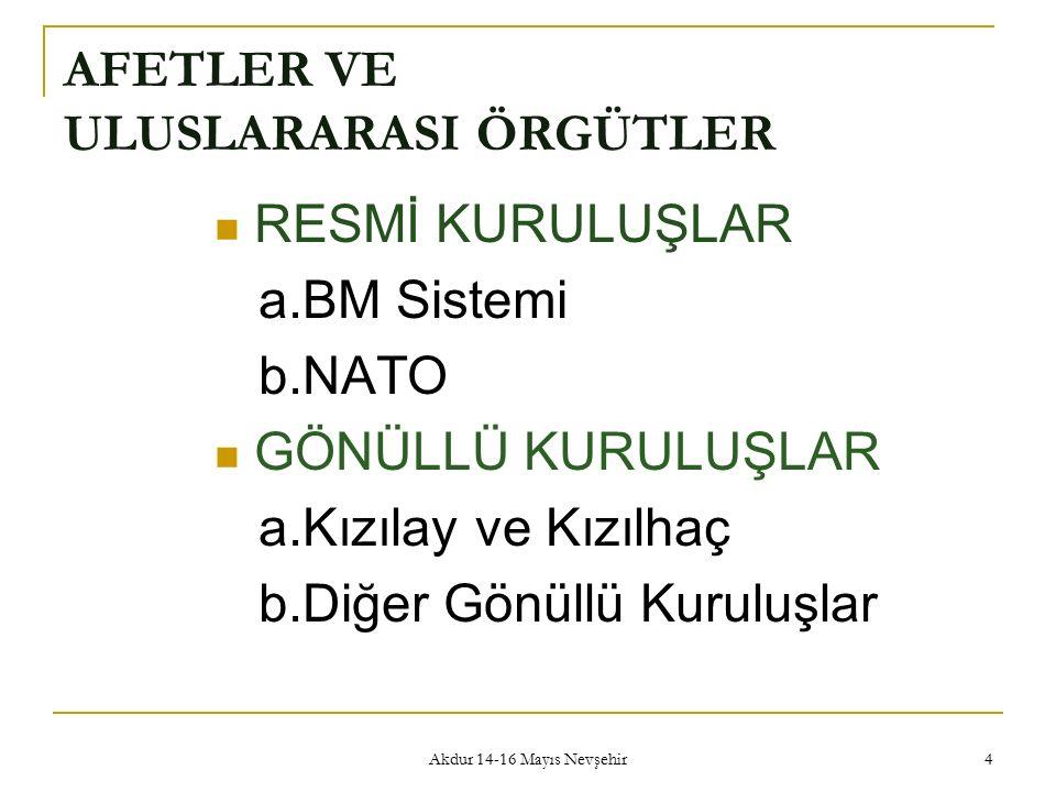 Akdur 14-16 Mayıs Nevşehir 4 AFETLER VE ULUSLARARASI ÖRGÜTLER RESMİ KURULUŞLAR a.BM Sistemi b.NATO GÖNÜLLÜ KURULUŞLAR a.Kızılay ve Kızılhaç b.Diğer Gö