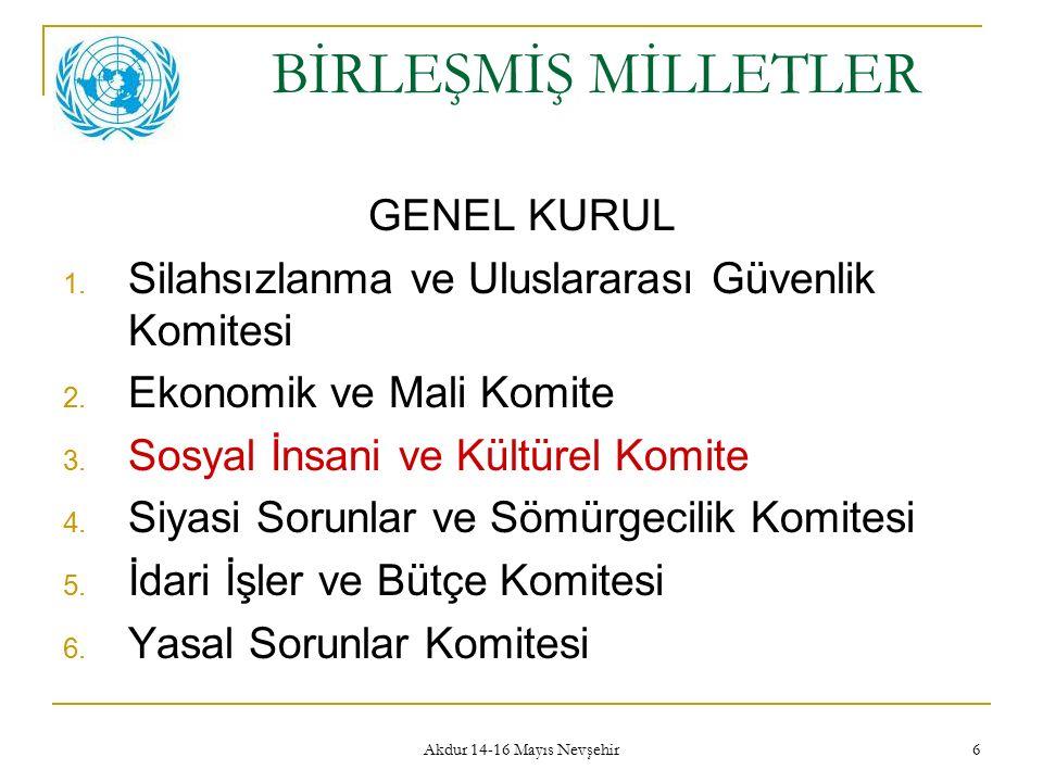 Akdur 14-16 Mayıs Nevşehir 6 BİRLEŞMİŞ MİLLETLER GENEL KURUL 1. Silahsızlanma ve Uluslararası Güvenlik Komitesi 2. Ekonomik ve Mali Komite 3. Sosyal İ
