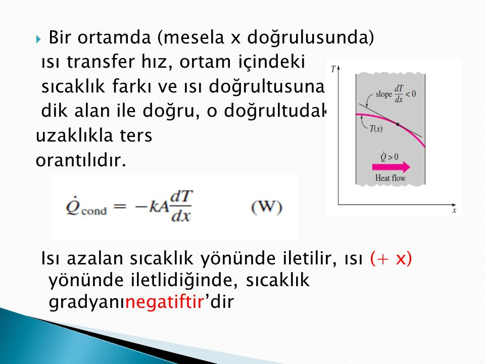  Bir ortamda (mesela x doğrulusunda) ısı transfer hız, ortam içindeki sıcaklık farkı ve ısı doğrultusuna dik alan ile doğru, o doğrultudaki uzaklıkla ters orantılıdır.