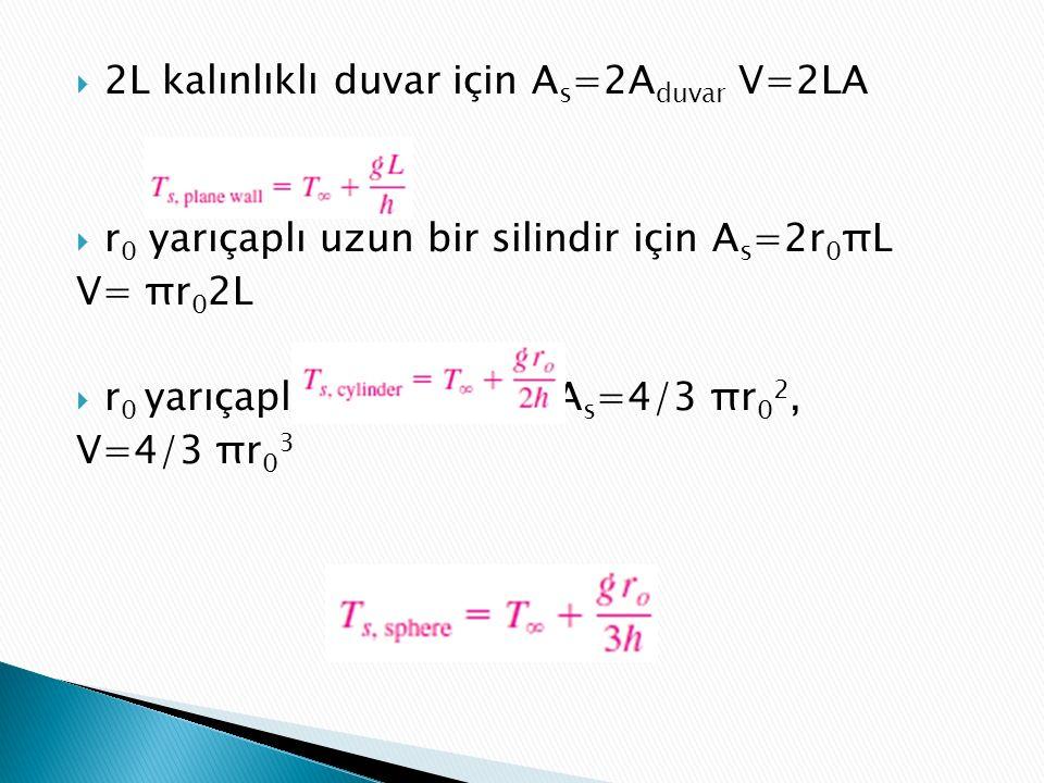  2L kalınlıklı duvar için A s =2A duvar V=2LA  r 0 yarıçaplı uzun bir silindir için A s =2r 0 πL V= πr 0 2L  r 0 yarıçaplı bir küre için A s =4/3 πr 0 2, V=4/3 πr 0 3
