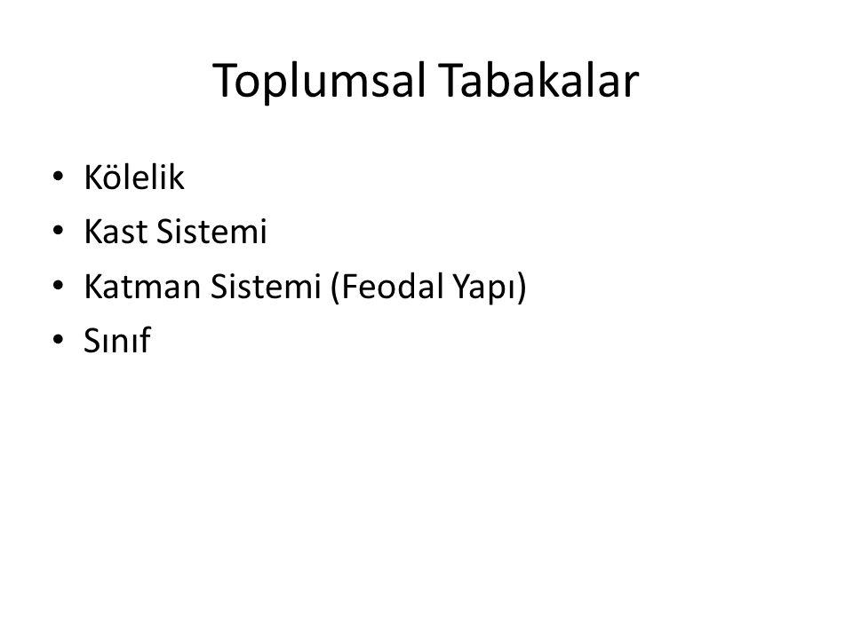 Toplumsal Tabakalar Kölelik Kast Sistemi Katman Sistemi (Feodal Yapı) Sınıf