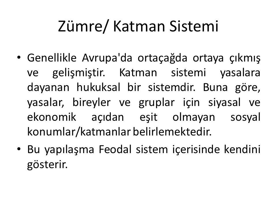 Zümre/ Katman Sistemi Genellikle Avrupa da ortaçağda ortaya çıkmış ve gelişmiştir.
