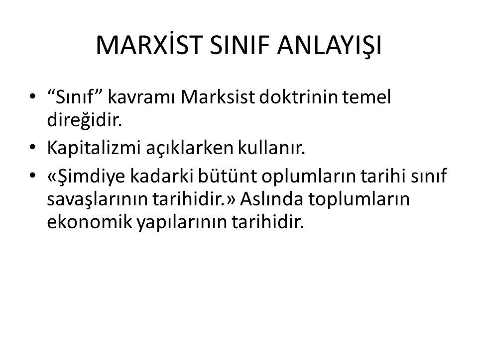 MARXİST SINIF ANLAYIŞI Sınıf kavramı Marksist doktrinin temel direğidir.
