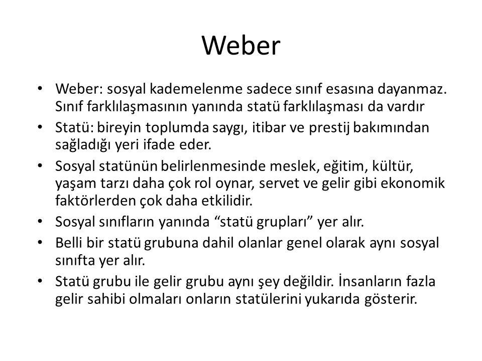 Weber Weber: sosyal kademelenme sadece sınıf esasına dayanmaz.