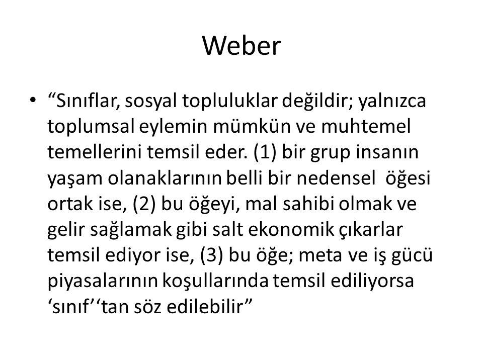 Weber Sınıflar, sosyal topluluklar değildir; yalnızca toplumsal eylemin mümkün ve muhtemel temellerini temsil eder.