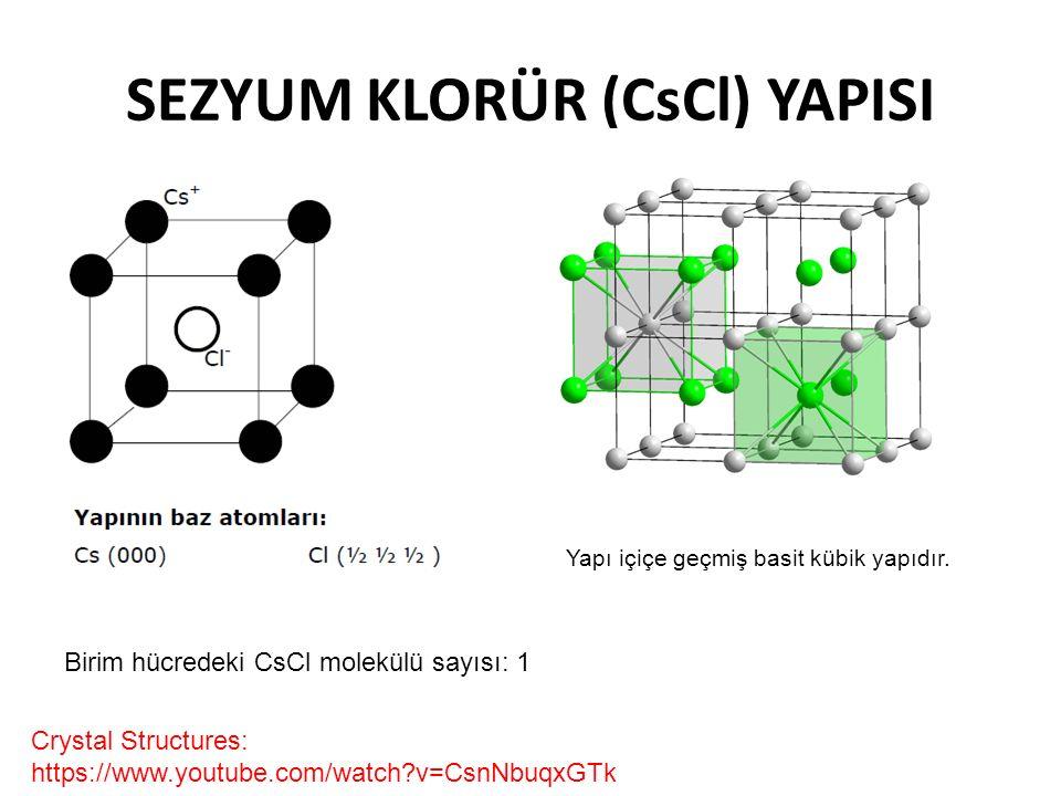 SEZYUM KLORÜR (CsCl) YAPISI Crystal Structures: https://www.youtube.com/watch?v=CsnNbuqxGTk Yapı içiçe geçmiş basit kübik yapıdır. Birim hücredeki CsC