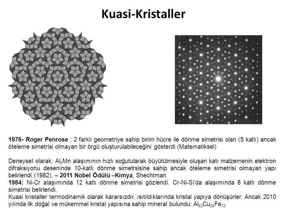 Kuasi-Kristaller 1976- Roger Penrose : 2 farklı geometriye sahip birim hücre ile dönme simetrisi olan (5 katlı) ancak öteleme simetrisi olmayan bir ör