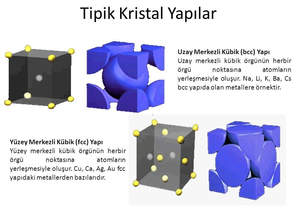 Tipik Kristal Yapılar Uzay Merkezli Kübik (bcc) Yapı Uzay merkezli kübik örgünün herbir örgü noktasına atomların yerleşmesiyle oluşur. Na, Li, K, Ba,