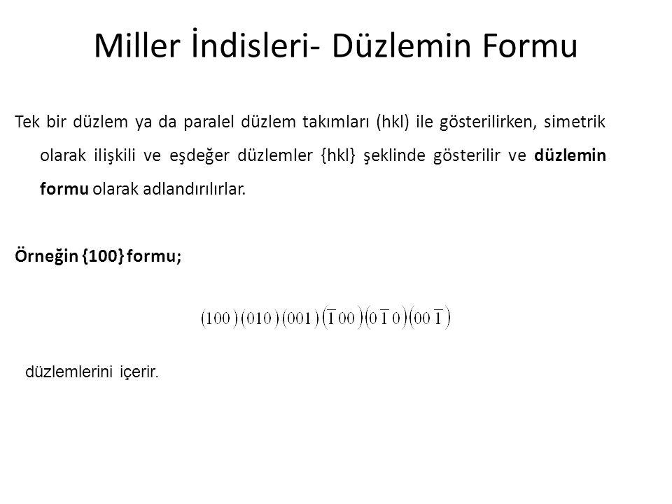 Miller İndisleri- Düzlemin Formu Tek bir düzlem ya da paralel düzlem takımları (hkl) ile gösterilirken, simetrik olarak ilişkili ve eşdeğer düzlemler