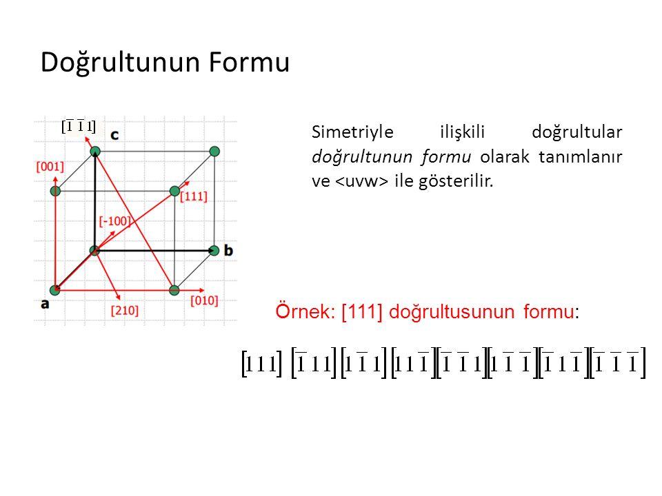 Doğrultunun Formu Simetriyle ilişkili doğrultular doğrultunun formu olarak tanımlanır ve ile gösterilir. Örnek: [111] doğrultusunun formu:
