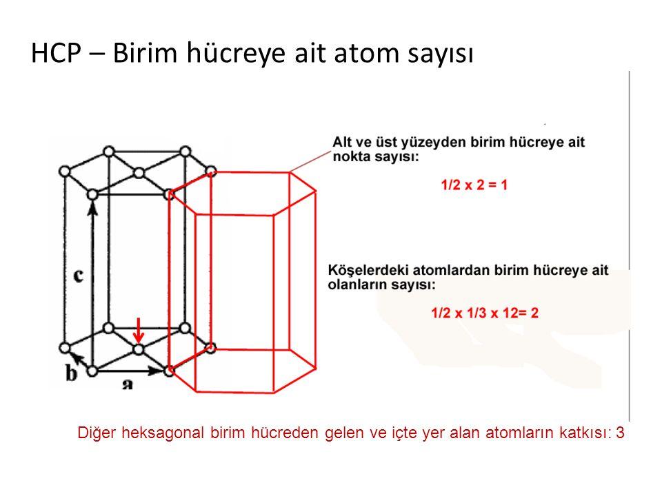 HCP – Birim hücreye ait atom sayısı Diğer heksagonal birim hücreden gelen ve içte yer alan atomların katkısı: 3