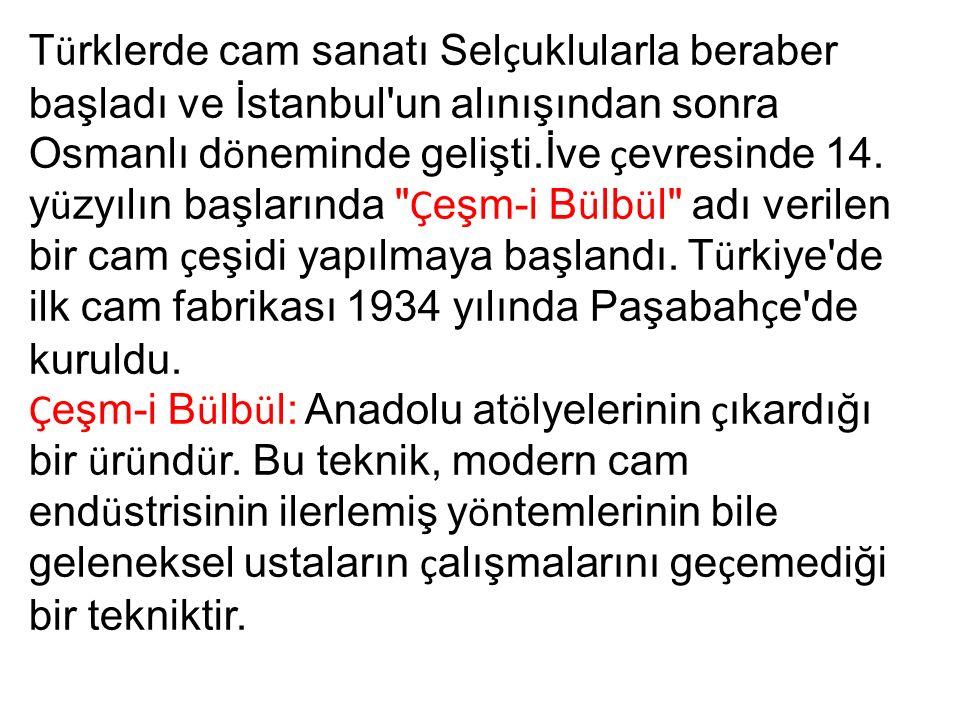 T ü rklerde cam sanatı Sel ç uklularla beraber başladı ve İstanbul'un alınışından sonra Osmanlı d ö neminde gelişti.İve ç evresinde 14. y ü zyılın baş