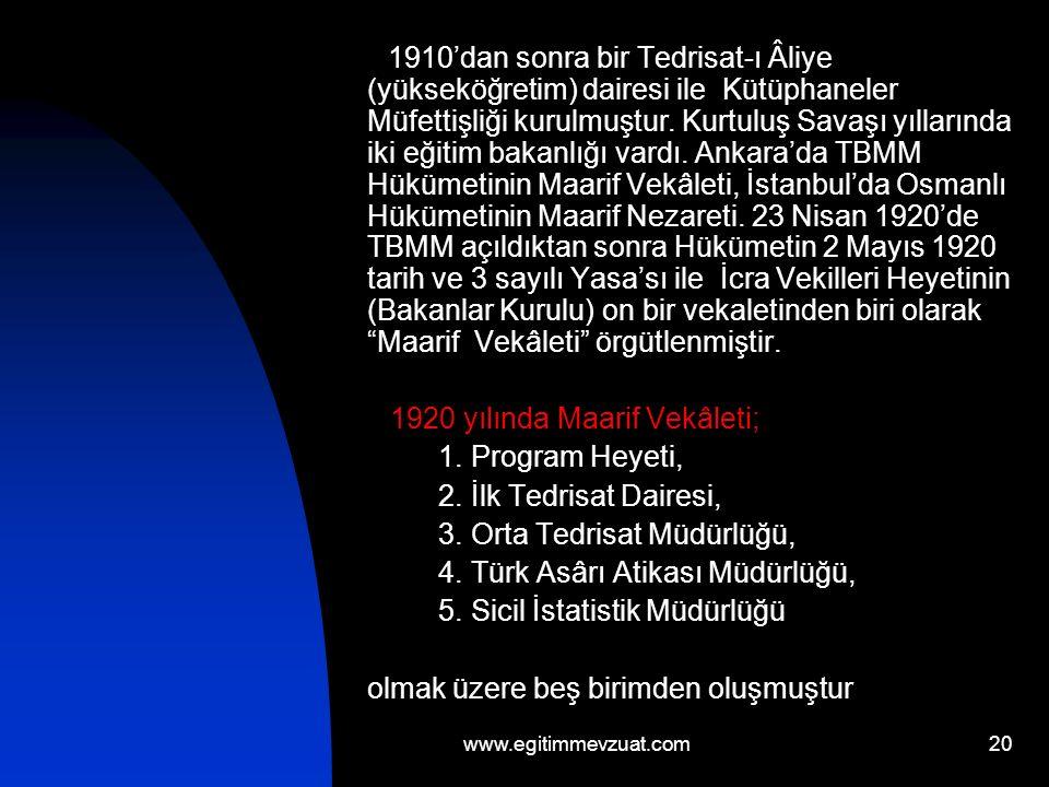 21 1923 yılında İstanbul'da bulunan Maarif Nezareti kapanmış, Ankara'da kurulan Maarif Vekâleti örgütü genişletilmiş, on bir birim olarak yeniden düzenlenmiştir.